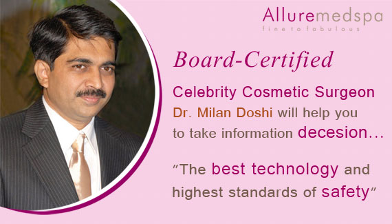 Celebrity Cosmetic Surgeon Dr Milan doshi at Allure medspa Clinic Mumbai