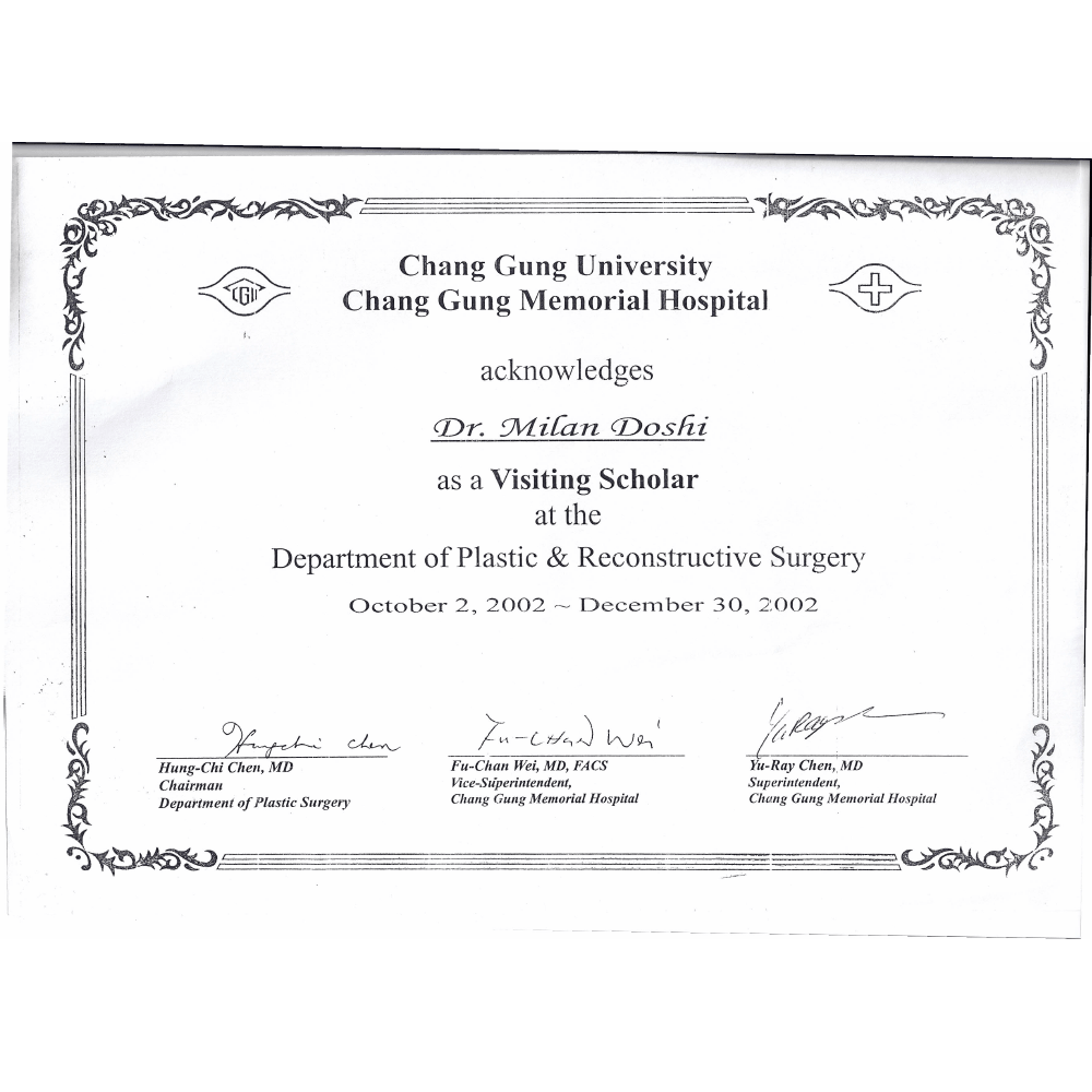 2002 OCT 2 - DEC 30 VISITING SCHOLAR DEPARTMENT OF PLASTIC AND RECONSTRUCTIVE SURGERY