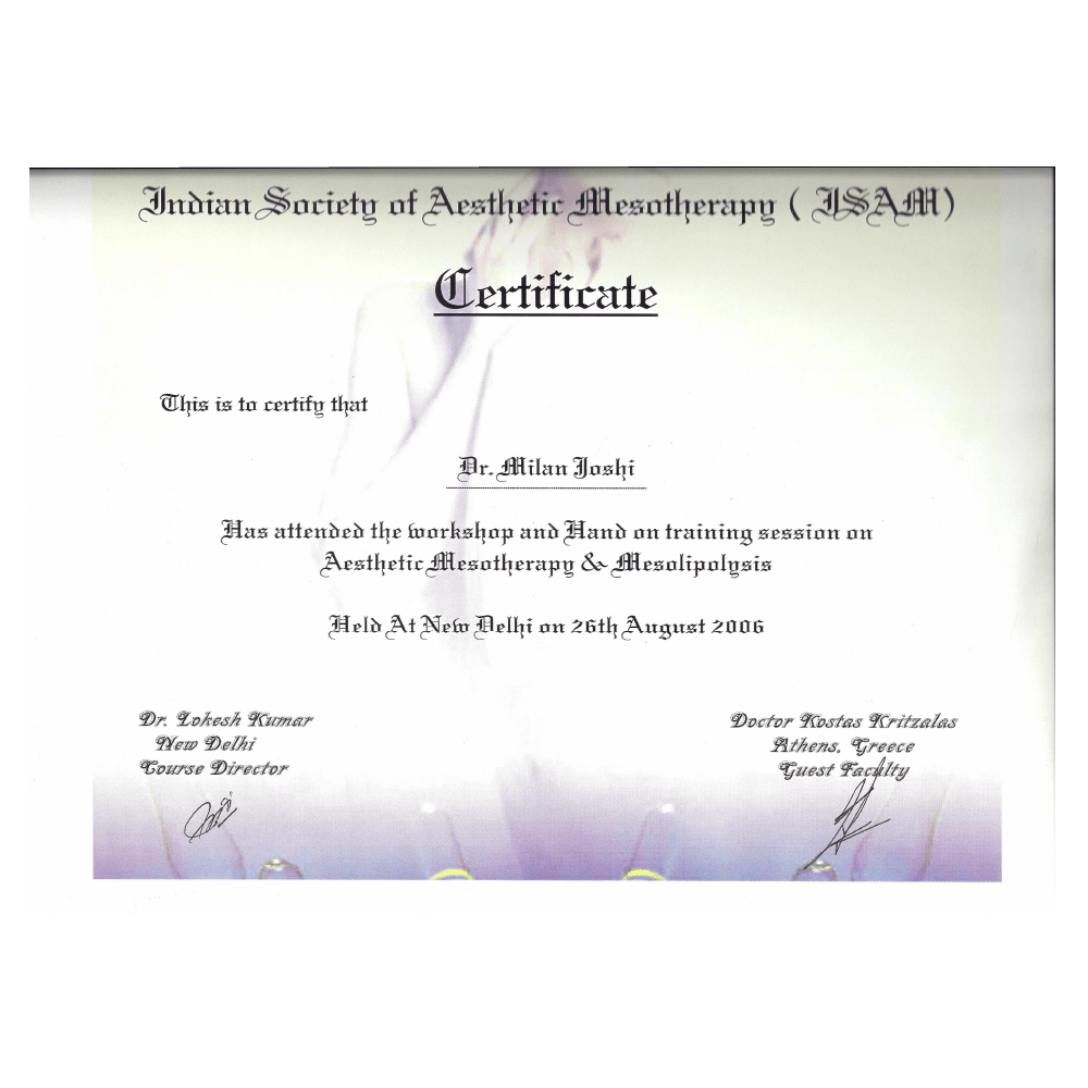 2006 AUG 26 INDIAN SOCIETY OF ASTHETIC MESOTHERAPY