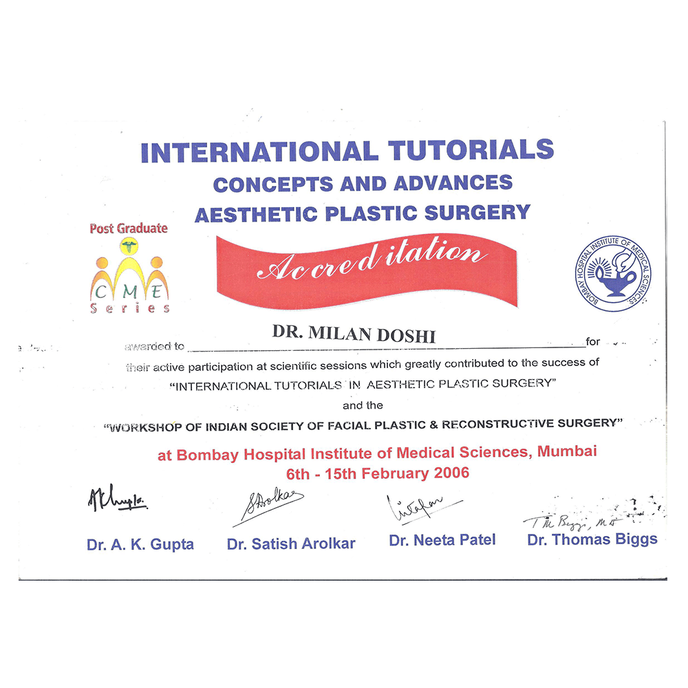2006 FEB 6 - 15 INTERNATIONAL TUTORIALS CONCEPTS AND ADVANCES ASTHETIC PLASTIC SURGERY