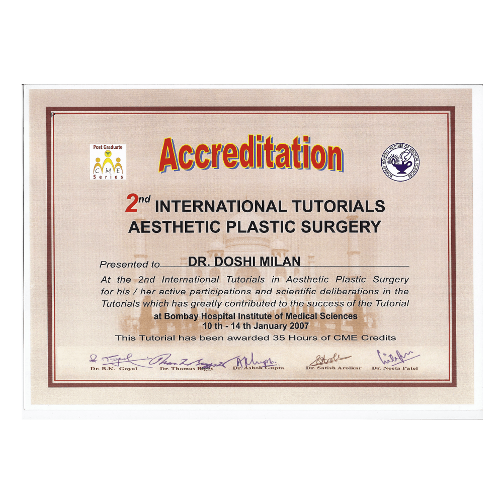 2007 JAN 10 - 14 2ND INTERNATIONAL TUTORIALS ASTHETIC PLASTIC SURGERY