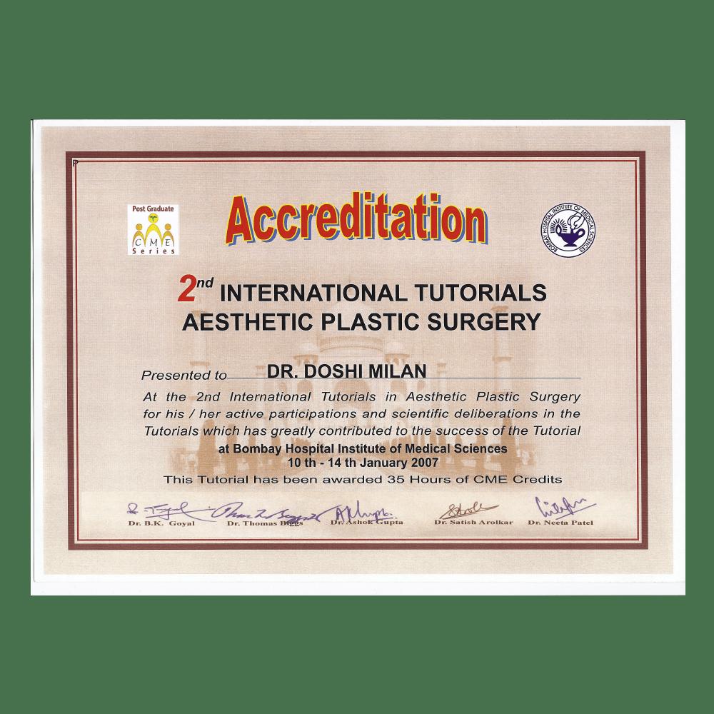 2007 JAN 10 - 14 2ND INTERNATIONAL TUTORIALS ASTHETIC PLASTIC SURGERY