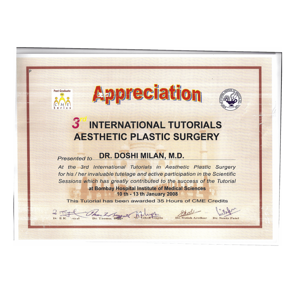 2008 JAN 10 -13 3RD INTERNATIONAL TUTORIALS ASTHETIC PLASTIC SURGERY