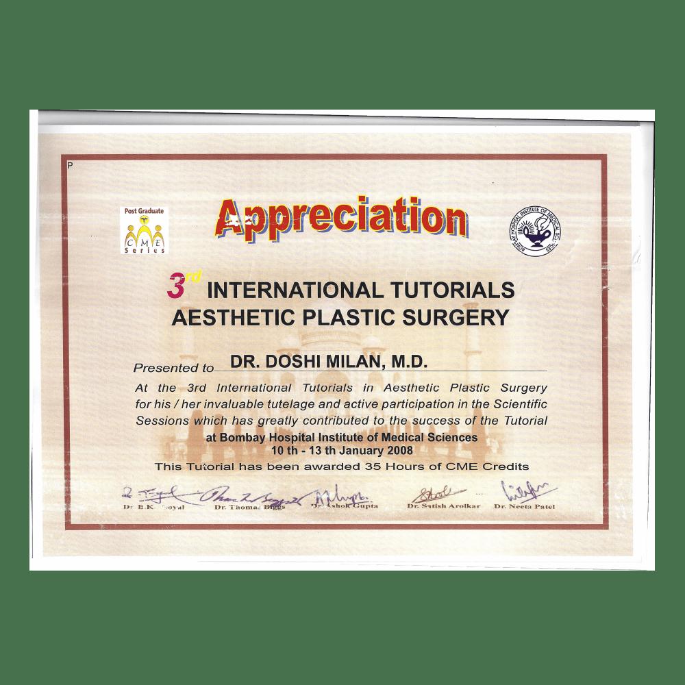 2008 JAN 10 -13 3RD INTERNATIONAL TUTORIALS ASTHETIC PLASTIC SURGERY